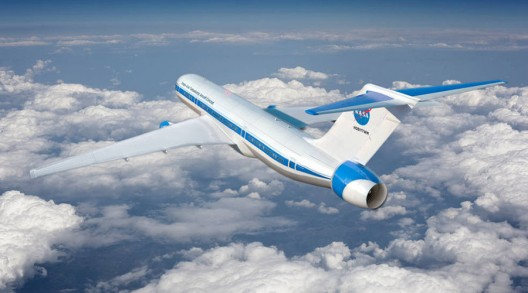 Conceptual illustration of hybrid electric airliner, with electric motors augmenting power of jet engines