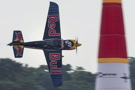 Peter Besenyei of Hungary performs during the training for the third stage of the Red Bull Air Race World Championship