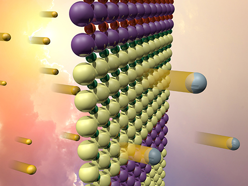 The interfaces between the two oxides (represented in this idealized, atomically abrupt model by the yellow and purple bands) create an electric field. The field separates electrons (silver) excited by sunlight (gold), which could be used to catalyze hydrogen fuel production.