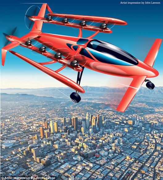 Artist's impression of Zee.Aero's multirotor craft - different enough from vehicle seen in Hollister, California to stir speculation. Illustration: Daily Mail
