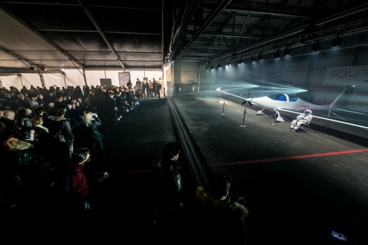 Raphael Domjan's stratospheric solar plane was unveiled this morning in Payerne, Switzerland, to 300 guests, including ambassadors, partners, government representatives and the world's media. Photo courtesy SolarStratos