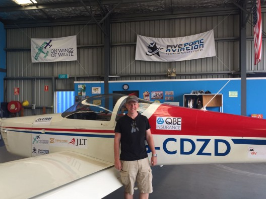 Jeremy Rowsell with RV-9A powered by Wilksch three-cylinder diesel engine and fueled by 10-percent plastic waste