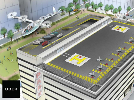 An Uber vertiport atop a downtown office building - similar to heliports in operation today